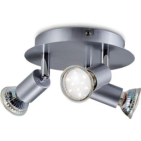 B.K.Licht plafonnier 3 spots LED orientables, ampoules LED 3W GU10 incl, 250lm par spot, blanc chaud 3000K, éclairage plafond LED cuisine chambre salon, 230V, IP20