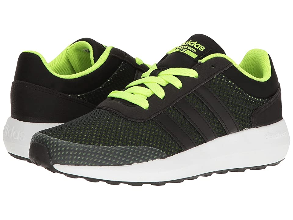 adidas Kids Cloudfoam Race (Little Kid/Big Kid) (Black/Solar Yellow) Kids Shoes