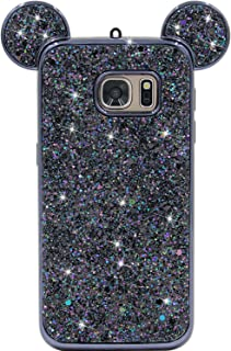 Galaxy S7 Case, MC Fashion Super Cute Sparkle Bling Bling Glitter 3D Mickey Mouse Ears Soft and Protective TPU Rubber Case for Samsung Galaxy S7 (Black)