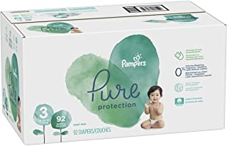 Diapers Size 3, 92 Count - Pampers Pure Disposable Baby Diapers, Hypoallergenic and Fragrance Free Protection, GIANT