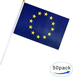 Kind Girl 50 Pack Hand Held Small Mini Flag European Union Flag EU Flags Round Top Flags,Party Decorations Supplies for Parades,Festival Events,International Festival