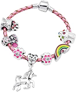 My Little Mermaid Pink Leather Birthday Charm Bracelet for Girls in Gift Box