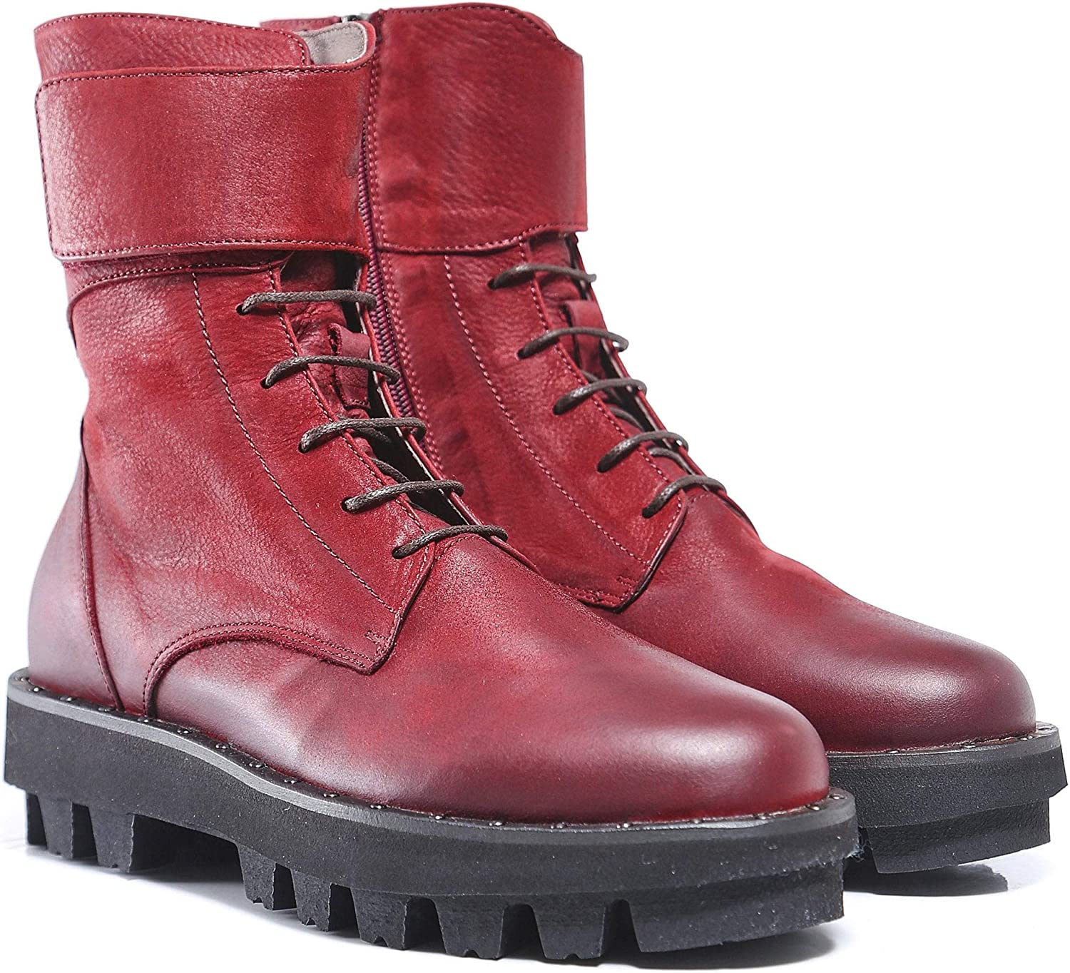 Lofina Women's Leather Lace up Boots Red