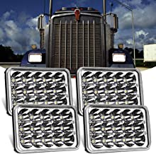 Yorkim 4x6 LED Headlights 4pcs Off Road Peterbilt Headlight Parts Rectangular H4 H4651 H4652 H4656 H4666 H6545 Lights for Kenworth Truck Freightinger Ford Probe Motorcycle Oldsmobile Cutlass, Chrome