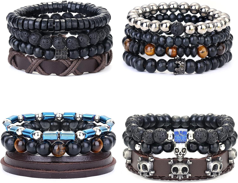 Ubjuliwa Braided Leather Bracelets for Men Women Cuff Wrap Bracelet Wood Lava Rock Stone Beads Ethnic Viking Tribal Bracelets Set Adjustable