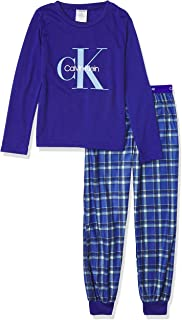 Calvin Klein Boys' Long Sleeve Tee & Plaid Jogger Pajama Set