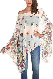 2160aa1db4ba DJT Women's Floral Printed Chiffon Caftan Poncho Tunic Top