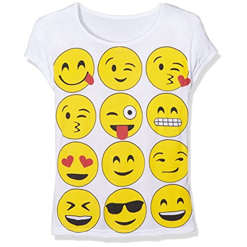 3ad3b72b594f Girls Emoji Short Sleeved T Shirt New Kids Smiley Print Tops Novelty