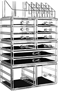 Organizador de maquillaje acrílico para encimera, 4 piezas, diseño apilable, soporte de almacenamiento de cosméticos con 1...