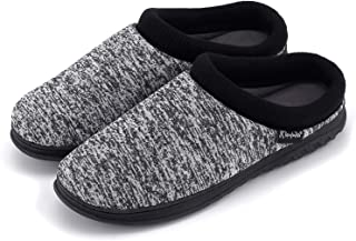 K KomForme Slippers for Men, Cotton Memory Foam Slip on Indoor and Outdoor Winter House Shoes