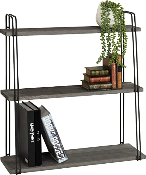MyGift 3 Tier Wall Mounted Vintage Gray Wood Storage Rack With Metal Wire Frame