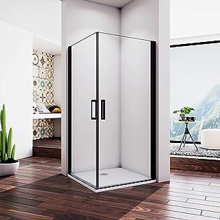 100X80X200cm Mamparas de Ducha Esquina 2 puertas Abatibles Perfil Aluminio Negro, Cabina de ducha con Cristal Templado de ...