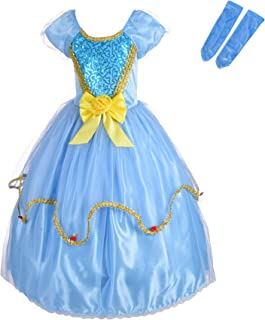Dressy Daisy Girls Princess Cinderella Dress Up Costumes Halloween Fancy Party Dress Golden Trimmed
