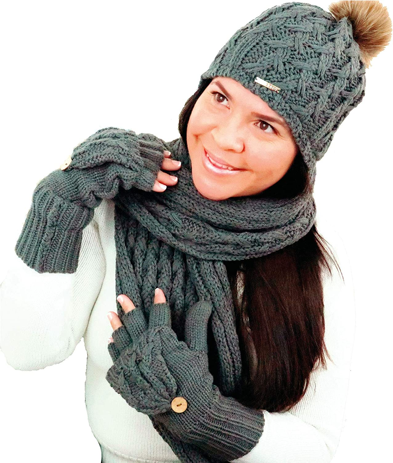 Supourri Hat Scarf Glove Set For Women Grey Color Hat Includes Pom Pom and Fleece Lining, Scarf Is Oversized, and Glove Is Pop Open Style Comfortable and Fashionable For Cold Winters