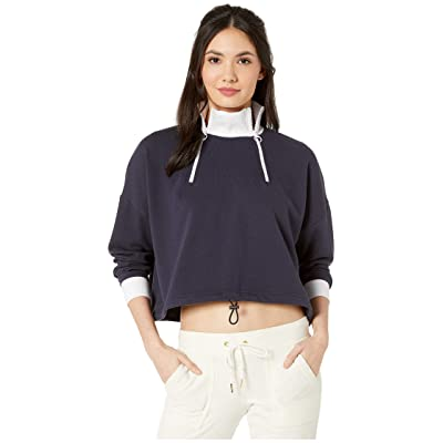 Juicy Couture Double Zip Crop Pullover (Midnight Blue) Women