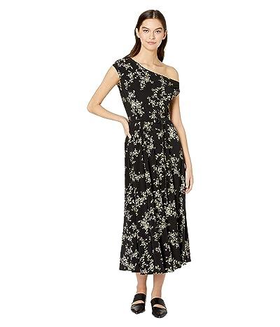 KAMALIKULTURE by Norma Kamali Drop Shoulder Flared Dress to Midcalf (Delicate Flowers) Women