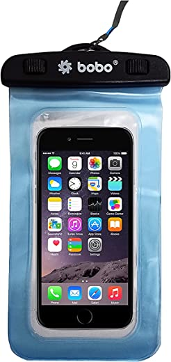 BOBO Universal Waterproof Pouch (XL 2021 Model) Cellphone Dry Bag Case for iPhone, Samsung, Pixel, Mi, Moto up to 7.0 inch – Blue (Pack of 1)