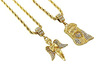 Exo Jewel Double Layer Hip Hop Necklace with Virgin Mary & Angel Pendants