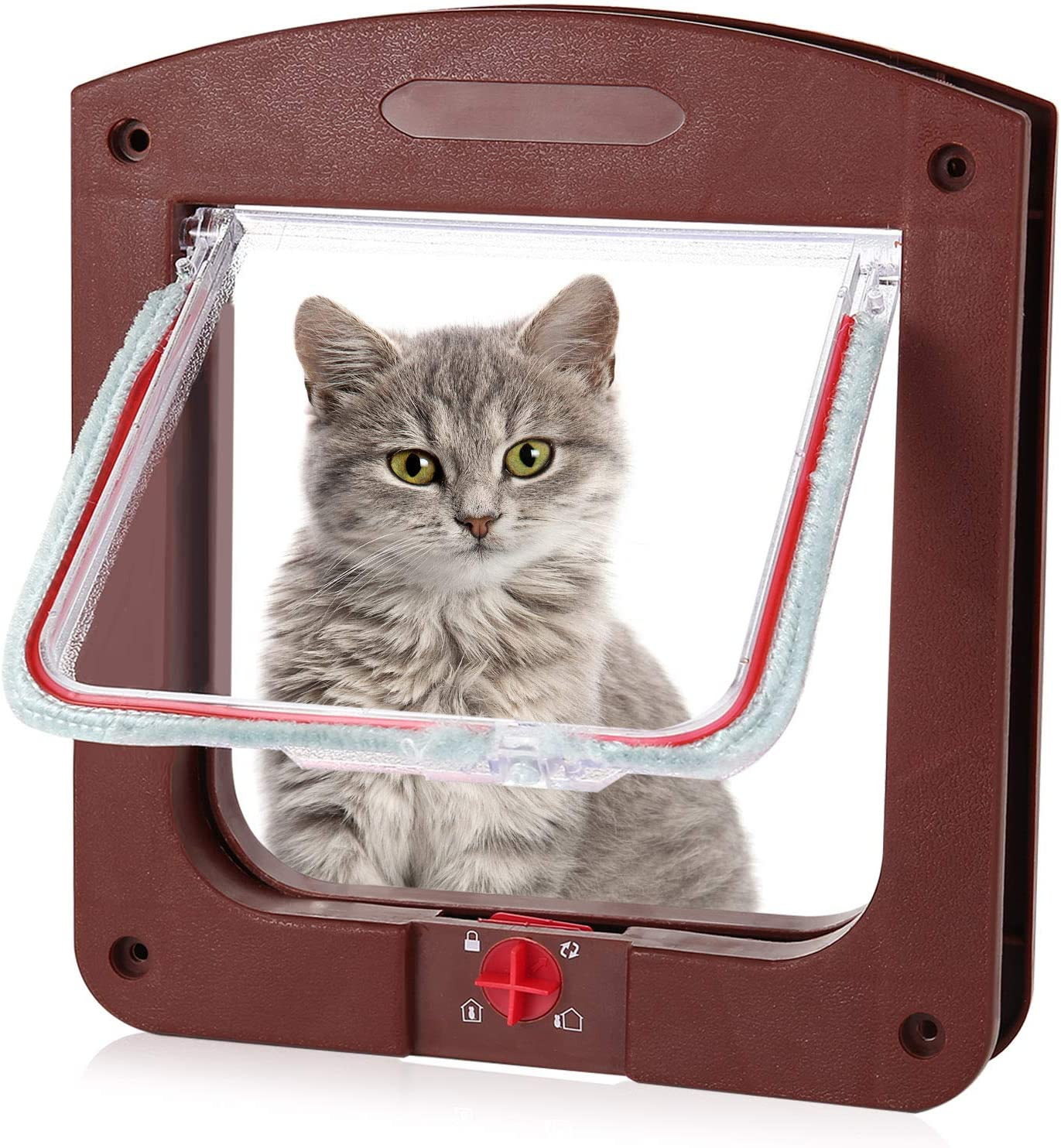 Cat Dog Flap with Tunnel Pet Flap for Cats Small Dogs and Small Pets Brown metagio Cat Flap