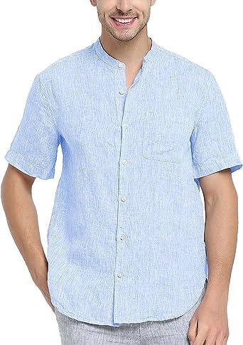 Najia Symbol Camisa de 100% Lino Tela Hombre Manga Corta ...