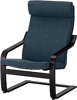 صندلی IKEA Poäng ، مشکی-قهوه ای ، آبی تیره Hillared