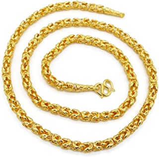 Chain Gold Plated Necklace 22k 23k 24k Thai Baht 48 Grams 24 Inches Width 5 mm Men's Women Jewelry