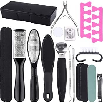 Pedicure Tools Foot File Callus Remover for Feet, Tufusiur 20 in 1 Pedicure Kit Professional Stainless Steel Foot Scrubber Rasp Scraper Supplies for Dead Skin Gifts for Men Women Home Salon