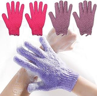 2 pares de guantes exfoliantes para el cuerpo, guantes de baño para masaje de la piel, esponja de limpieza profunda para p...