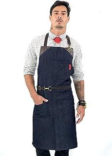Under NY Sky No-Tie Classic Blue Apron - Durable Denim, Leather Reinforcement and Split-Leg - Adjustable for Men and Women - Pro Chef, Barista, Bartender, Baker, Stylist, Tattoo, Artist, Server Aprons