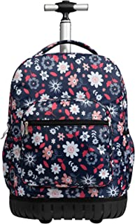 SKYMOVE 18 inches Wheeled Rolling Backpack Multi-Compartment College Books Laptop Bag Business Trip Carry-on, Daisies