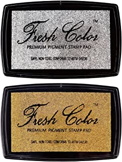 Best Stamp Non-Toxic Fresh Color Metallic Pigment Stamp InkPad, Gold and Silver, for Invitation Card, DIY Crafts, Scrapbooking, Long-Lasting Pigment Ink (2 Pack)