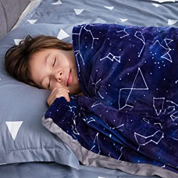 """Florensi Weighted Blanket for Kids with Removable Bamboo Duvet Cover (7 Lbs & 41"""" x 60""""), 7 Pounds Weighted Comforter, Twin Size, Cooling Blanket for Kid Baby Toddler Teenager, Machine Washable Cover"""