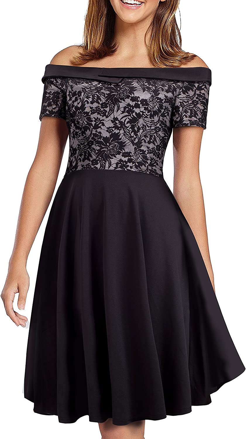 WEIJIE Women's Vintage Casual Flare Lace Off Shoulder Party Dress