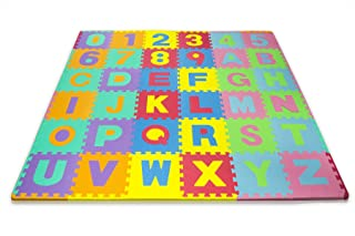 Matney® Kid's Foam Floor Alphabet and Number Puzzle Mat, with Zippered Case for Storage, Multicolor 12