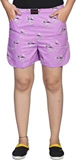 Flamboyant Women's Pink Printed Cotton Shorts