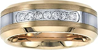 Mens Diamond Wedding Band in Yellow Tungsten Carbide (0.20ct, H-I, I2)