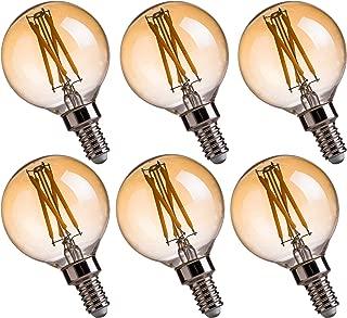FLSNT LED Candelabra Edison Bulbs 40 Watts Equivalent,G16.5 Globe Chandelier Light Bulbs,Dimmable,E12 Base,2200K Soft Warm White,4.5W,CRI80,330LM,Amber Glass Finishing,6 Pack