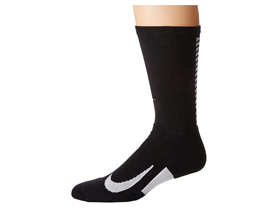 Nike Elite Running Cushion Crew Socks (Black/White/White) Crew Cut Socks Shoes