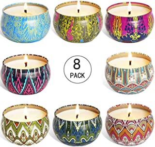 YIIA Fruity Scented Candles Gift Set, Natural Soy Wax Travel Tin Candle Stress Relief Aromatherapy with Sweet Odor 8-Pack(Lemon, Fig, Lavender, Spring Fresh,Rose ,Jasmine,Vanilla,Bergamot)