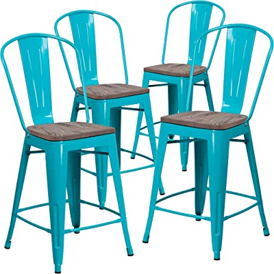 """Flash Furniture 4 Pk. 24"""" High Crystal Teal-Blue Metal Counter Height Stool with Back and Wood Seat"""