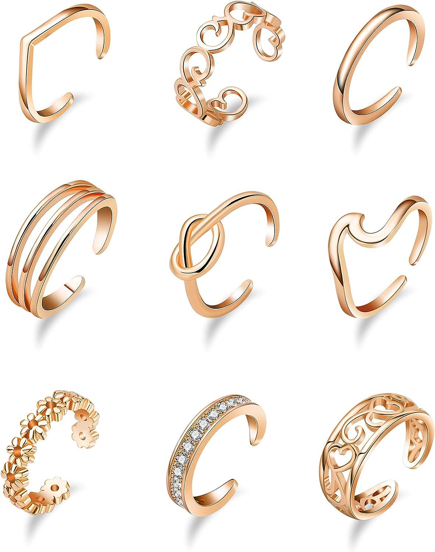 Vegolita 9PCS Adjustable Open Toe Rings Women Girls for Tail Ranking TOP5 Financial sales sale Rin