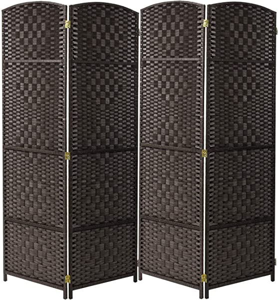Sorbus Room Divider Privacy Screen Foldable Panel Partition Wall Divider Room Dividers And Folding Privacy Screens Diamond Double Weaved Espresso Brown