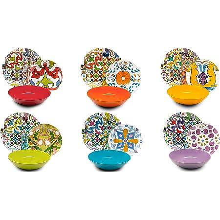 Excelsa Service Assiettes 18pièces, Lisbonne, Porcelaine et céramique, Multicolore.