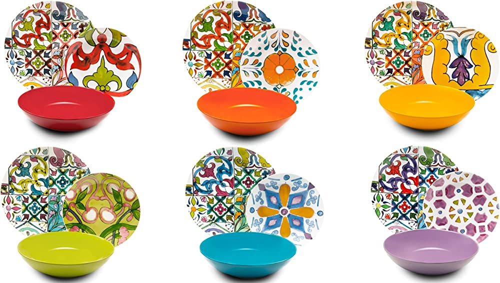 Excelsa kimono , servizio di piatti da 18 pezzi, in  porcellana e ceramica multicolore 62492