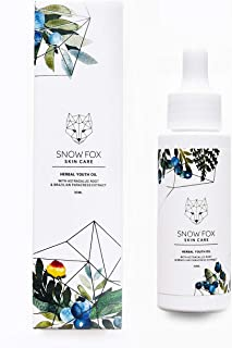 Snow Fox Herbal Youth Oil - Anti-Aging Facial Oil with Organic Blueberry Seed Oil and Natural Herbs to Smooth Out Lines and Wrinkles - Deep Hydrating Repairing and Preventing Properties