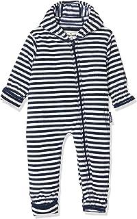 Playshoes Baby Fleece-Overall, atmungsaktiver Unisex-Jumpsuit für Jungen und Mädchen mit langem Reißverschluss und Kapuze, maritim gestreift