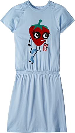 Fendi Kids Ruffle Sleeve Dress w/ Strawberry On Front (Big Kids)