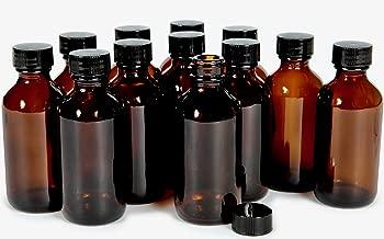 Vivaplex, 12, Amber, 2 oz Glass Bottles, with Lids