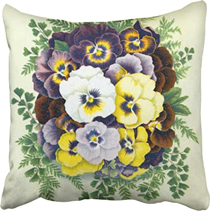 Capsceoll pansies Decorative Throw Pillow Case 18X18Inch, Home Decoration Pillowcase Zippered Pillow Covers Cushion Cover with Words for Book Lover Worm Sofa Couch