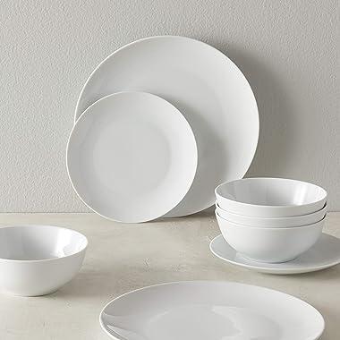 Amazon Basics 18-Piece Kitchen Dinnerware Set, Plates, Dishes, Bowls, Service for 6, White Porcelain Coupe